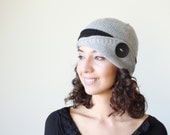 Grey knit hat, Womens knit hat, Lucy Hat, Grey Winter beanie for women, Hand knitted hat women, Grey beanie, Womens grey hat with button