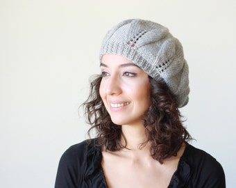 Grey Knit Hat for Women, Slouchy beret women, Grey knit tam hat womens, winter knit accessories, Handmade beanie