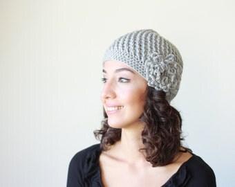 Grey Beanie hat women, Grey hat with flower, Women crochet beanie with flower, Chunky crochet hat, Grey crochet hat, Grey beanie women,