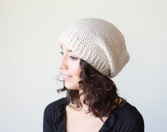 Winter hat, Hand Crochet Hat for Women, Slouch Hat in beige, winter trend slouch hat women, slouch crochet hat women