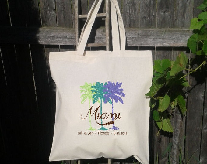 Wedding Welcome Tote -Bridesmaid Tote - Wedding Party -Palm Trees, Destination Wedding
