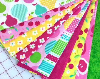10 Bright Tutti Frutti Quilt Fabric Fat Quarters by Timeless Treasures