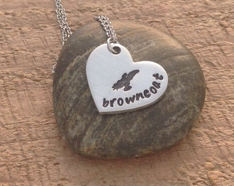"Firefly inspired hand stamped ""browncoat"" necklace"