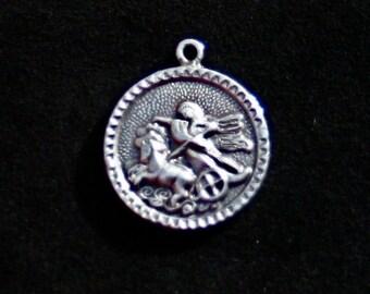 PRICE REDUCED Sterling silver roman chariot pendant horse scene bracelet charm vintage
