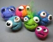 Custom Feezle Bop Felt Moody Stress Ball Needle Felted OOAK Mini Monster
