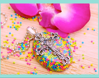 Sprinkle Necklace , Sweet Blessings Real Sprinkles Resin Oval Necklace, Pin Back or Magnet  By: Tranquilityy