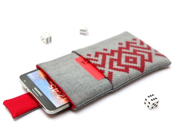 Galaxy Note 7, Note 5, Note Edge, Note 4, 3 sleeve case cover pouch with magnetic closure light jeans with pocket and red ornament pattern
