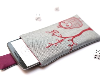 LG G5, V10, G4, G3, G2 sleeve case cover pouch handmade with magnetic closure light jeans and purple with red owl