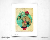 Bubbles 8x11 Print - sexy leather guy - hunky man