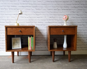 Pair of Wakefield Nightstands with drawers - Solid Cherry