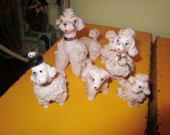 "Adopt This PINK Spaghetti Poodle Family of 5: Superb Porcelain Vintage SIGNED ""JAPAN"" Poodles - Hand Painted/Hand Made"