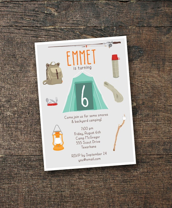 DIGITAL Camping Birthday Invitation & Note Card •• PRINTING also available ••