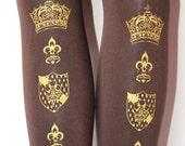Crown Print Tights Small Medium 120 Denier Gold on Brown Chocolate Printed Womens Royal Victorian Lolita