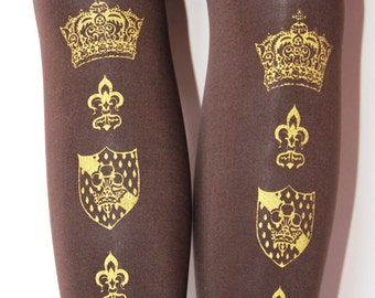 Crown Print Tights Small Medium 120 Denier Gold on Brown Chocolate Printed Womens Royal Victorian Lolita