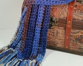 BEAUTIFUL winter scarf. Variegated colors: blues, browns, grey.  Fringe. Crochet. Bulky yarn. Handcrafted. Muffler.