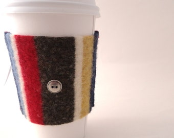 Coffee Cozy PRIMARY STRIPES Felted Sweater Wool Coffee Cosy / Coffee Sleeve by WormeWoole