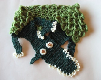 MADE TO ORDER Alligator Scarf, green Gator accessory scarf, Size Child