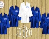 Silk Satin Robes, Wedding Robes, FREE ROBE Set of 7 or MORE Robes,  Bridesmaid Satin Robes, Kimono Robe, Plus Size Robe, Royal Blue Robes