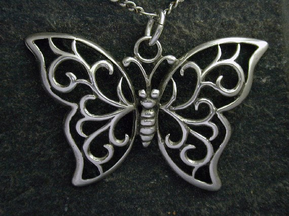 Sterling Silver Butterfly Pendant on a Sterling Silver Chain