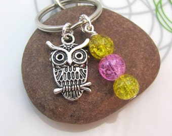 Owl  Keychain Keyring small silver owl charm crackle glass bead stack colourful  pink yellow