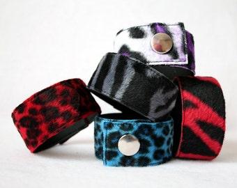 Fake Fur Cuff - larger sizes - zebra or leopard pattern punk wristband cheetah
