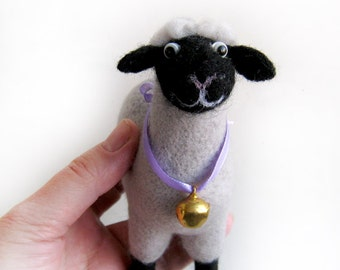 Lamb with a bell - needlefelted sculpture