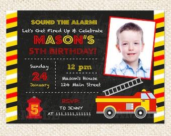 Fire Engine Invitation, Firetruck Invitation, Firefighter invite, Fire truck Chalkboard, Fireman invitation, Card printable DIY