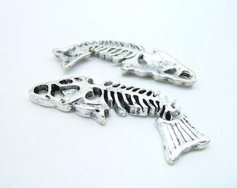 5pcs 16x50mm Antique Silver  Lovely Huge Fish Bone Charm Pendant C3841