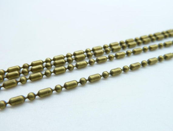 5meters  1.2-1.5mm Antique Bronze Brass Bead Cable Link Chain  E1018