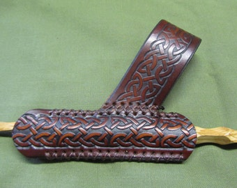 Customizable Leather Celtic Braid Wand Sheath, Holder, & Holster, for 5/8in Diameter Wand