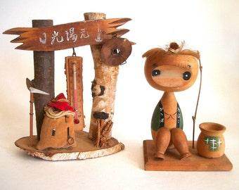 Vintage Kokeshi Japanese Doll 2 Pieces / Japanese Souvenir