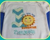 You Are My Sunshine Aqua Turquoise chevron Birthday Shirt or Bib Boys Girls Applique Personalized 1st 2nd 3rd 4th Tshirt