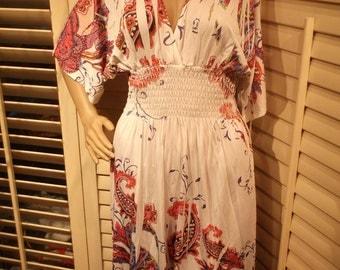 Vintage Stretchy Knit Dress, Paisley, Smocked Waist