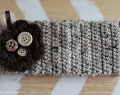 Crochet Headband with removable crochet flower detail (oatmeal)