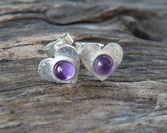 Small sterling silver heart post earrings with amethyst. Stud earrings. Silver heart studs with amethyst. Silver jewellery. Handcrafted