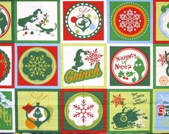 Dr. Seuss How The Grinch Stole Christmas Snowflake Cotton Fabric By The Panel