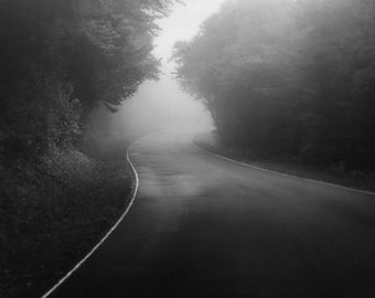 Black and white photography, dark, foggy road, landscape photography, Black Mountain Road