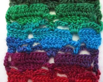 Crocheted Scarf, Women Teen Multicolor Neckwarmer, Falling Triangle Design Fashion Crochet Scarf Gift under 20, Landscape Apple Orchard Yarn