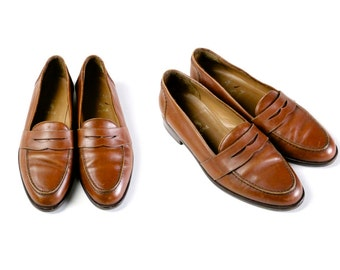 Polo Ralph Lauren penny loafer shoes,90s  men's brown leather shoes, mens size 8 1/2 US / 42 EU / 8 UK