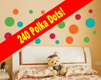 NEW!! Set of 240 Polka Dots Wall Decals