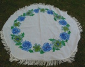Floral Round Linen Tablecloth, Fringed, Blues and Greens