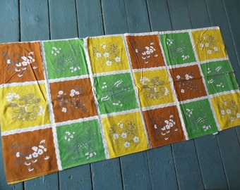 Vintage Wilendure Tablecloth Earthtoned Patchwork Style, Fall Colors