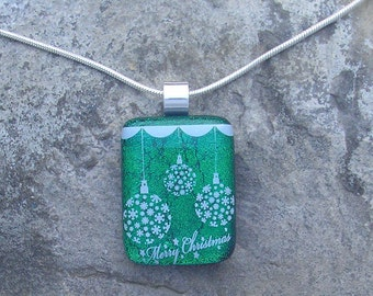 Christmas Necklace Fused Dichroic Glass Merry Christmas Pendant
