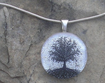 Silver Tree of Life Necklace Dichroic Fused Glass Tree of Life Pendant