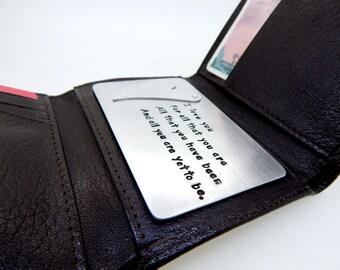 Aluminum Wallet Insert Card - Personalized Hand Stamped Metal - Gift Husband Boyfriend 10 Ten Year Anniversary, Boyfriend Gift