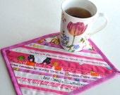 Bright Pink Mug Mat, upcycled selvage, large coasters, eco friendly mug mat, mothers day gift