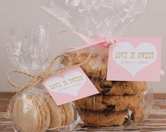 24 Cellophane Bridal Shower Favor Bags - Love is Sweet Tag Design - Bridal Shower Favors // Party Favor Bags // Wedding Favor Bags