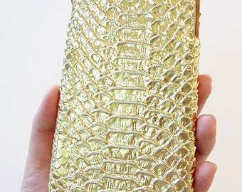 """For Apple iPhone 6 6s Plus 5.5"""" Metallic Gold Crocodile Patent Leather Phone Cover Smartphone Cellular Mobile Snap On Hard Shell Case"""