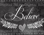 Holiday Decor Download Chalkboard Christmas Believe Original Design Merry Christmas Sign Black & White Calligraphy Writing Home Decor