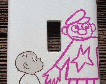 Harold and the Purple Crayon Upcycled / Recycled Light Switch Plate